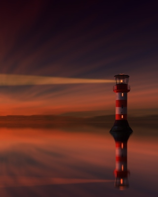 Lighthouse and evening dusk Wallpaper for HTC Titan
