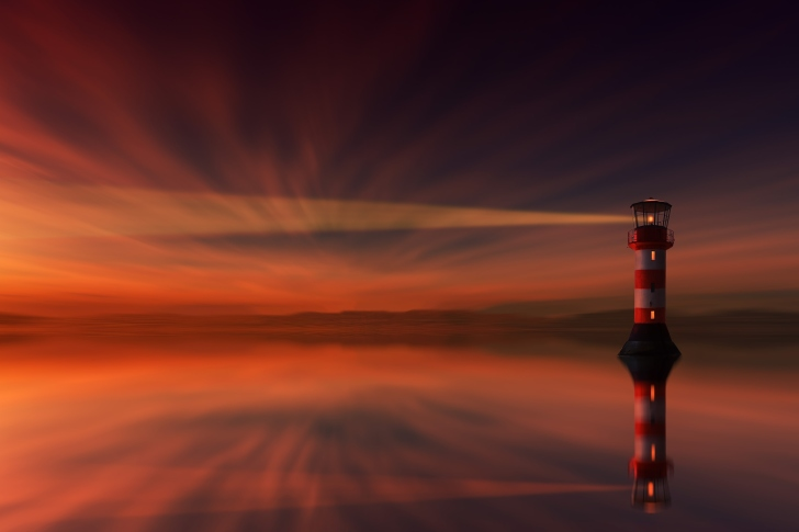 Fondo de pantalla Lighthouse and evening dusk