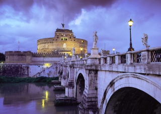 Castle Sant Angelo Bridge Rome Italy Picture for Android, iPhone and iPad