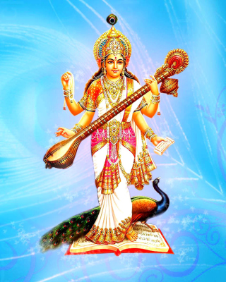 Saraswati Hindu Goddess Background for 240x320
