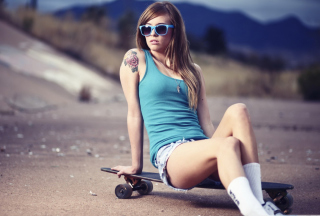 Skater Girl With Tattoo Background for Android, iPhone and iPad
