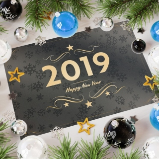 2019 Happy New Year Message sfondi gratuiti per 1024x1024
