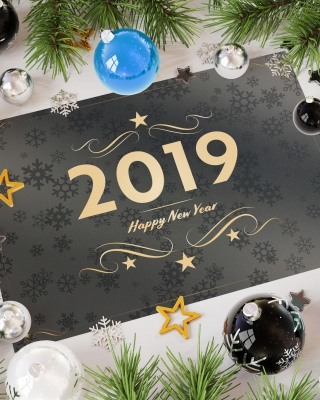 Kostenloses 2019 Happy New Year Message Wallpaper für 320x480