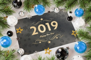 2019 Happy New Year Message Background for 1200x1024