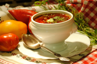 Ukrainian Red Borscht Soup Background for Android, iPhone and iPad