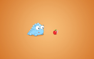 Free Dragon And Apple Funny Illustration Picture for Android, iPhone and iPad