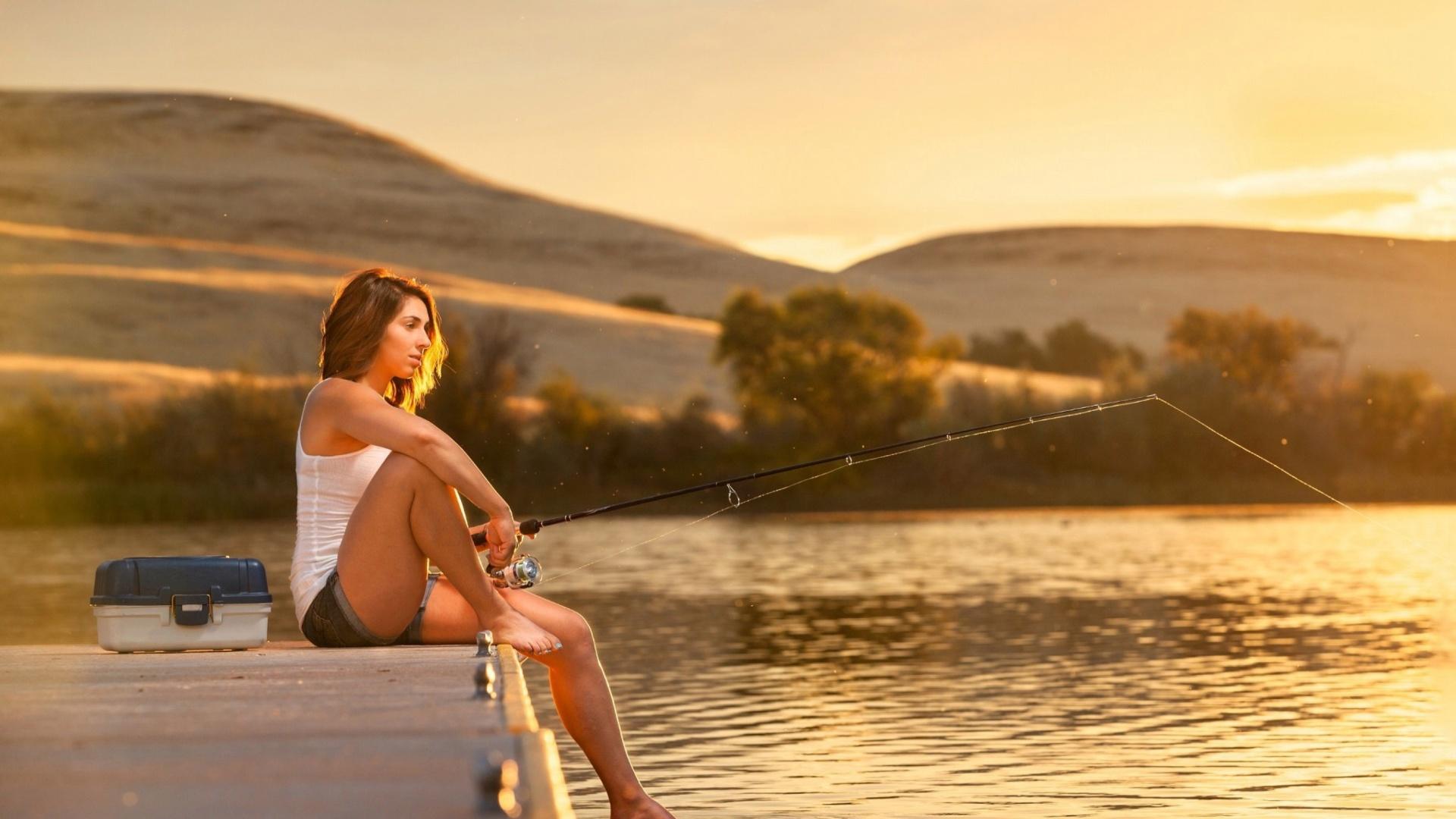 Девушка На Рыбалке Обои Рабочего Стола