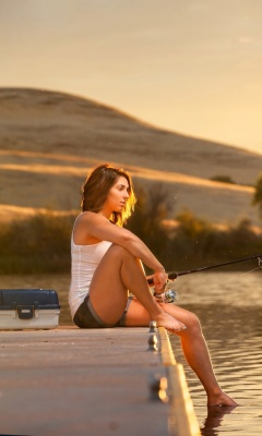 Girl fisherman wallpaper 240x400
