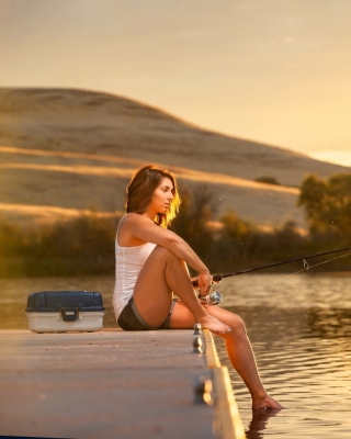 Girl fisherman Background for iPhone 4S