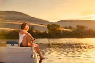 Girl fisherman Background for 1366x768
