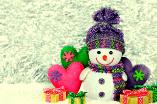Homemade Snowman with Gifts Background for Android, iPhone and iPad