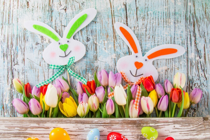 Easter Tulips and Hares wallpaper