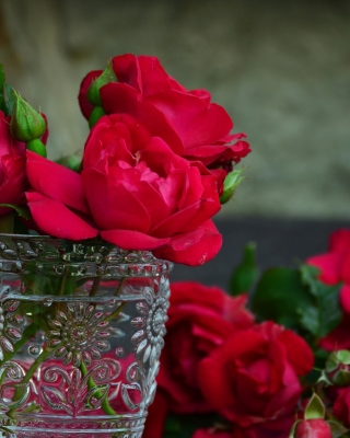 Free Red roses in a retro vase Picture for HTC Titan