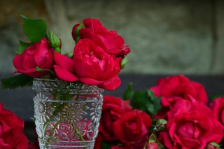 Red roses in a retro vase Background for Android, iPhone and iPad