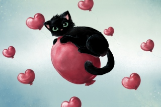 Black Cat On Balloon sfondi gratuiti per cellulari Android, iPhone, iPad e desktop