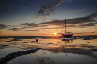 Beautiful Boat At Sunset Picture for Android, iPhone and iPad