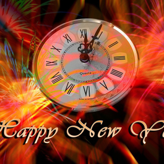 Happy New Year Clock sfondi gratuiti per iPad mini