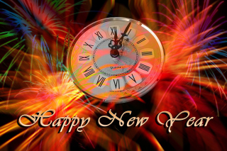 Happy New Year Clock Wallpaper for LG P970 Optimus