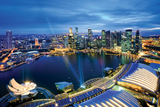 Singapore evening cityscape Background for Android, iPhone and iPad