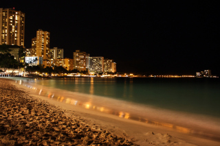 Waikiki Beach At Night Wallpaper for 480x320