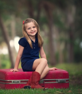 Little Girl Sitting On Red Suitcase - Obrázkek zdarma pro 360x640