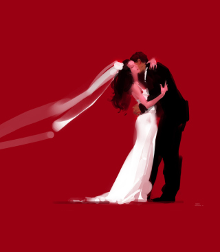 Bride And Groom Hug Wallpaper for iPhone 6 Plus