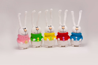 Knitted Bunnies In Colorful Sweaters Picture for Android, iPhone and iPad
