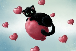 Black Kitty And Baloons Picture for Android, iPhone and iPad
