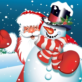 Santa with Snowman sfondi gratuiti per iPad mini