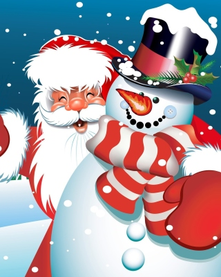 Santa with Snowman Wallpaper for Nokia C1-01