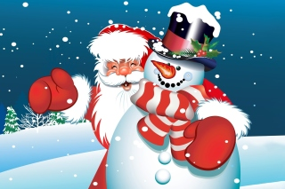 Santa with Snowman Wallpaper for Android, iPhone and iPad