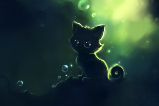 Lonely Black Kitty Painting Picture for Android, iPhone and iPad