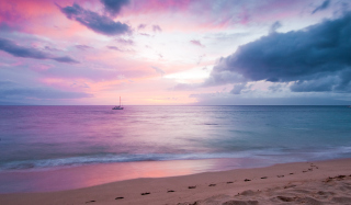 Free Pink Evening And Lonely Boat At Horizon Picture for Android, iPhone and iPad