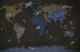 Jeans World Map Wallpaper for 220x176