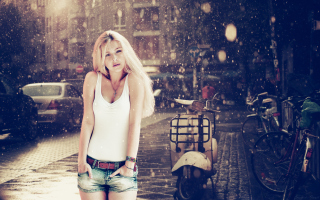 Blonde In The Rain Picture for Samsung Galaxy S6