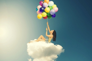 Flyin High On Cloud With Balloons Wallpaper for Android, iPhone and iPad