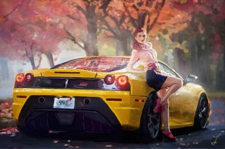 Ferrari Girl Painting Picture for Android, iPhone and iPad