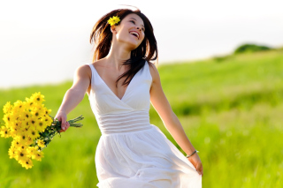 Happy Girl With Yellow Flowers Picture for Android, iPhone and iPad