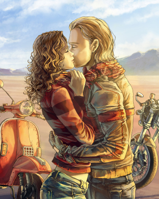 Free Biker Kiss Picture for 480x800