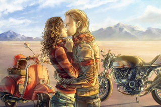 Biker Kiss Wallpaper for Android, iPhone and iPad