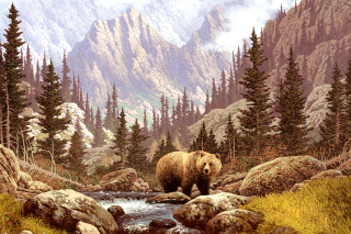 Brown Bear Painting Wallpaper for Android, iPhone and iPad