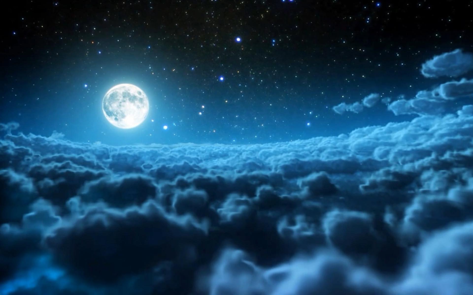 падающая звезда луна ночь небо скачать