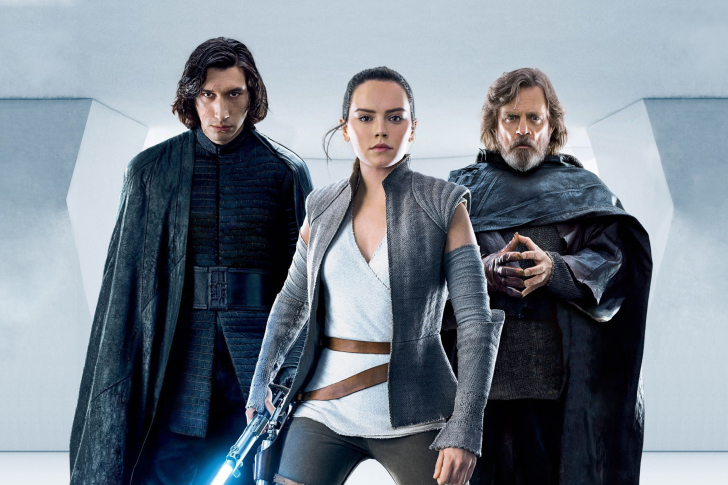 Star Wars The Last Jedi with Rey and Kylo Ren Shirtless wallpaper