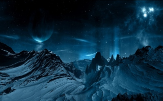 Blue Night And Mountainscape - Obrázkek zdarma