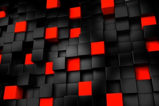 Free Abstract Black And Red Cubes Picture for Android, iPhone and iPad