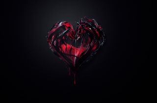 Free Black 3D Heart Picture for Android, iPhone and iPad