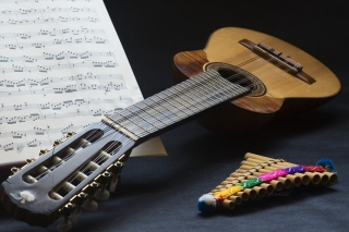 Guitar and notes - Obrázkek zdarma