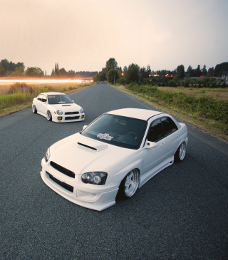 White Subaru Impreza Wallpaper for HTC Titan