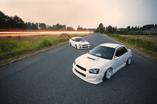 White Subaru Impreza Picture for Android, iPhone and iPad