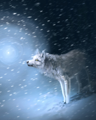 Wolf And Winter Painting - Obrázkek zdarma pro 320x480